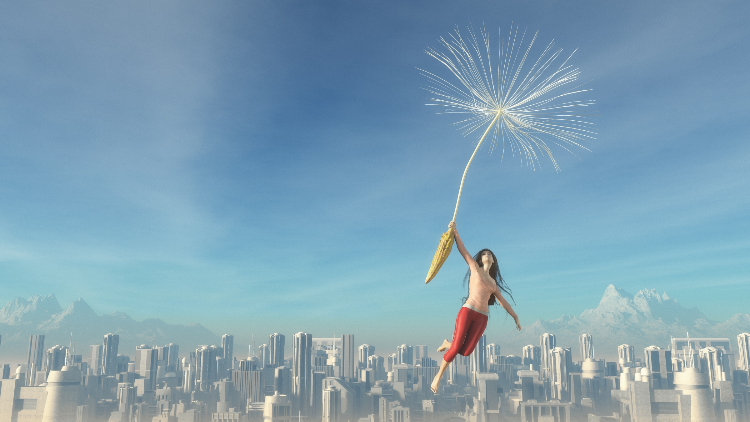 The young girl flies over a city with giant dandelion. This is a 3D render illustration